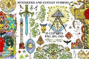 Freemasonry symbols in color