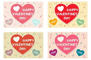 set Happy Valentines day colored greeting cards