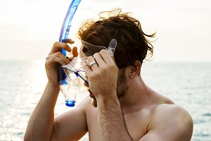 Man preparing for snorkeling