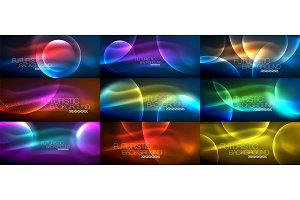 Collection of neon glowing particle waves