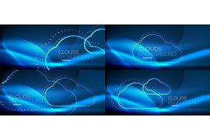 Set of neon cloud computing vector backgrounds