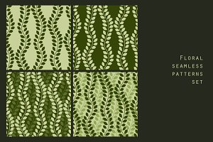 Green leaves seamless patterns set