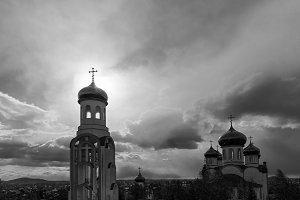 orthodox church with golden domes