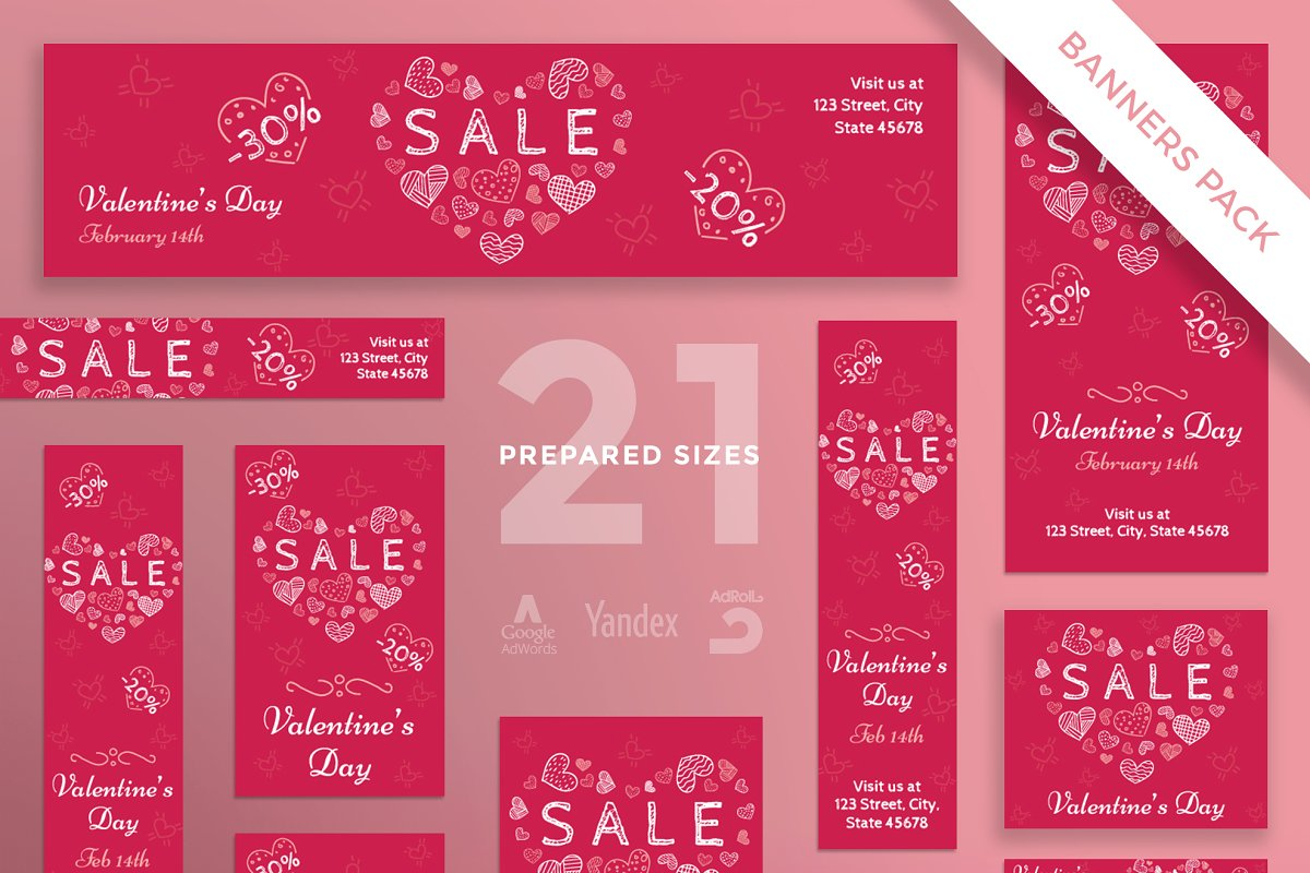 Banners Pack | Valentine's Day in Templates - product preview 8