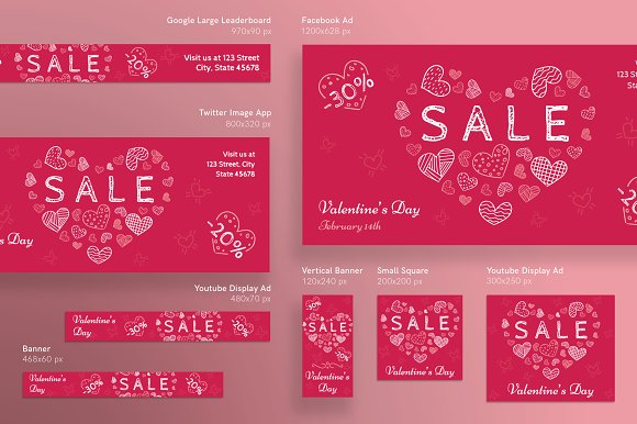 Banners Pack | Valentine's Day in Templates - product preview 1