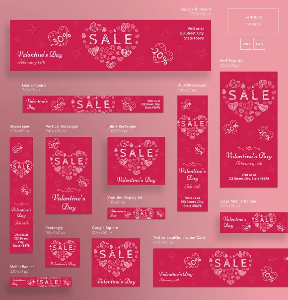 Banners Pack | Valentine's Day in Templates - product preview 2