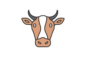 Cow head color icon