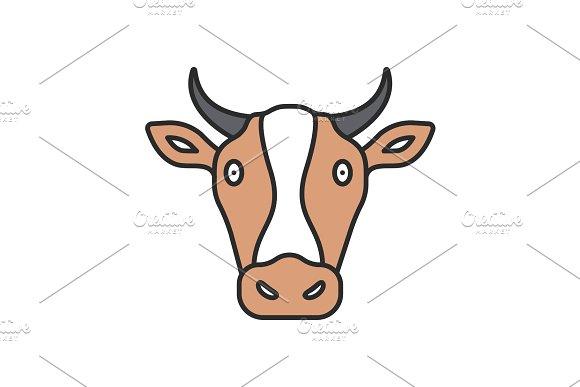 Cow Head Color Icon