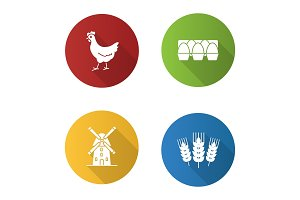 Agriculture flat design long shadow glyph icons set
