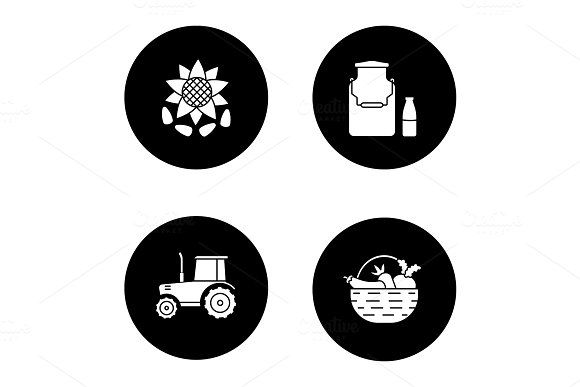 Agriculture glyph icons set