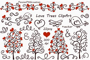 Digital Love Trees Clip art