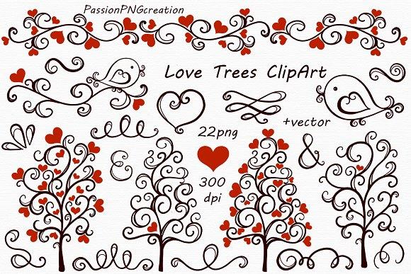 Digital Love Trees Clip art