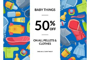 Vector horizontal baby clothes and accessories sale illustration