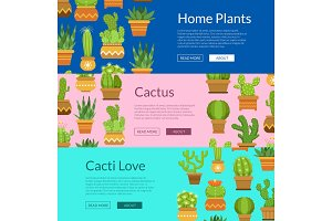 Banner set with home plant cacti