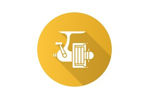 Spinning reel flat design long shadow glyph icon