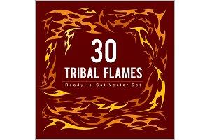 Vinyl ready fire flames set.