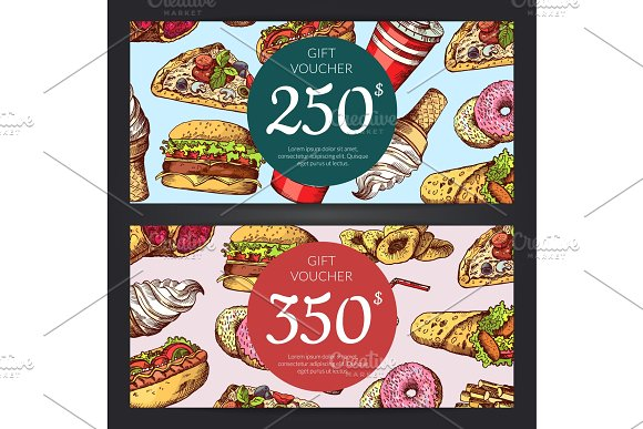Vector Discount Or Gift Voucher With Fast Food