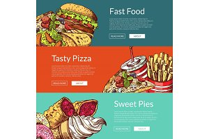 Vector banners with fastfood burgers, ice cream, donuts and pizza