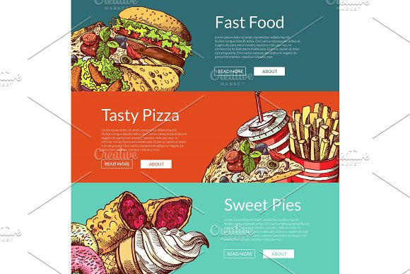 Vector Banners With Fastfood Burgers Ice Cream Donuts And Pizza
