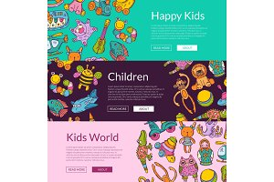 Vector banners with place for text and hand drawn children or kid toys