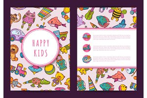 Vector card template hand drawn children toys on background