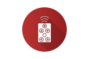 Remote controller flat design long shadow glyph icon