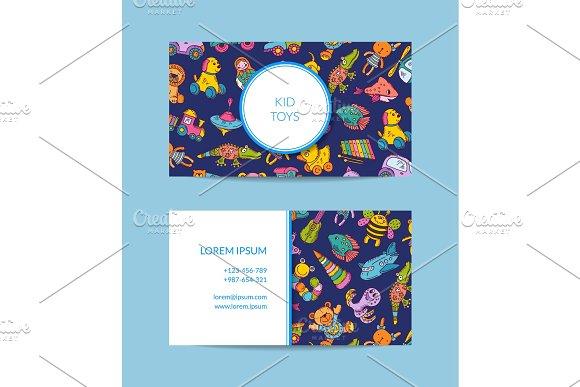 Vector business card template for shop, kindergarten
