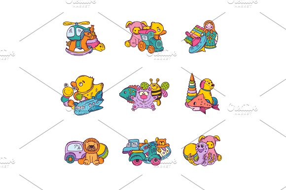 Vector set of kid toys piles