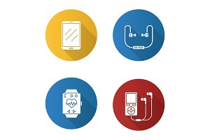 Gadgets flat design long shadow glyph icons set