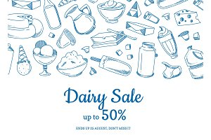Vector sketched dairy elements sale illustration