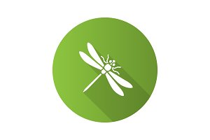 Dragonfly flat design long shadow glyph icons set