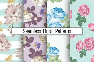 4 Floral Patterns Set