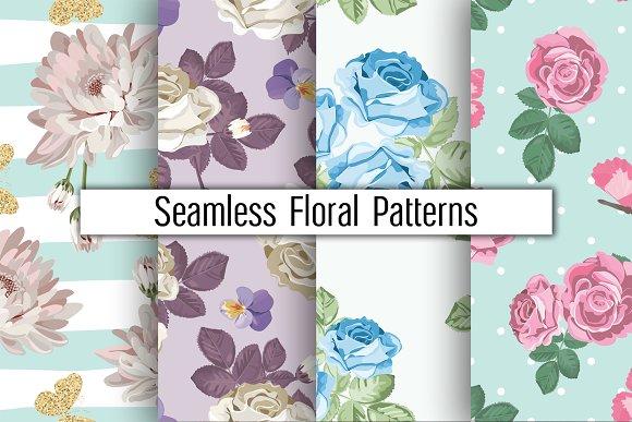 4 Floral Patterns Set
