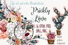 Prickly love. Vector clip art