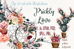 Prickly love. Vector clip art