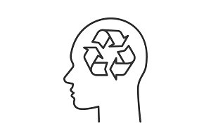 Human head with recycling sign inside linear icon