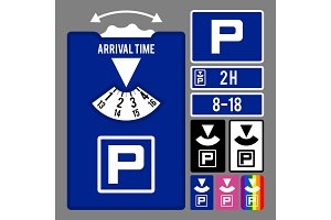 Parking clock icon. Vector set for parking time tracking