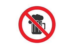Forbidden sign with beer mug glyph icon