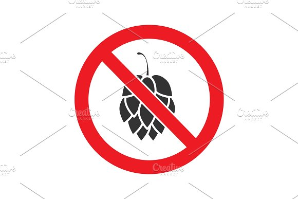 Forbidden sign with hop cone glyph icon