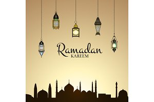 Vector Ramadan illustration with lanterns and arabic city silhouette