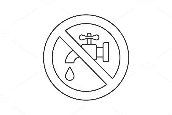 Forbidden sign with faucet linear icon