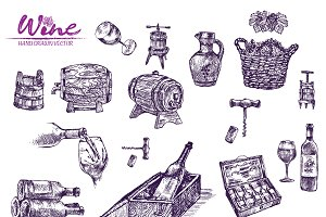 Vector bundle 10 wine set theme 2