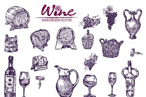 Vector bundle 10 wine set theme 3