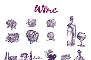 Vector bundle 10 wine set theme 5