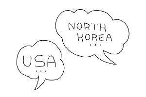North Korea and USA dialogue bubble. International conflict. Hand drawn vector stock illustration.