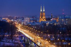 Warsaw Night Cityscape
