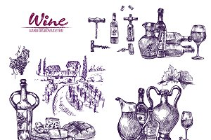 Vector bundle 10 wine set theme 7