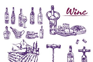 Vector bundle 10 wine set theme 8