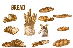 Vector bundle 10 bread set theme 2