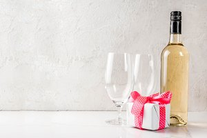 Valentines day concept with wine